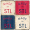 Made in St. Louis Coaster Set. Handmade Marble Giftware by Studio Vertu.