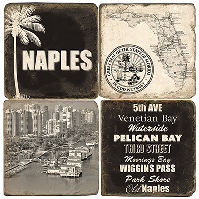 Black & White Naples, Florida Coaster Set. Handcrafted Marble Giftware by Studio Vertu.