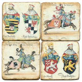 Vatican Knights Coaster Set. Handcrafted Marble Giftware by Studio Vertu.