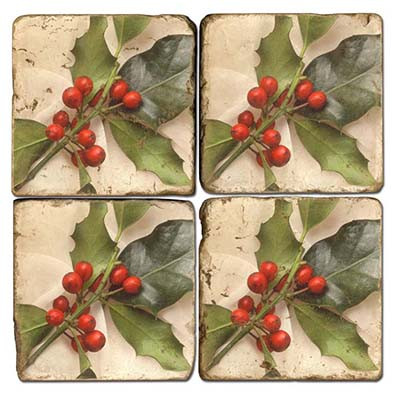 Holly branch coaster set. Handcrafted Marble Giftware by Studio Vertu.