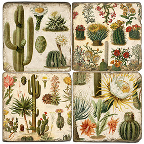Bohemian Cactus Coaster Set. Handmade Marble Giftware by Studio Vertu.