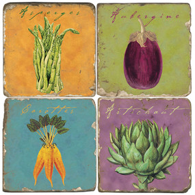 Vegetable Coaster Set. Handcrafted Marble Giftware by Studio Vertu.