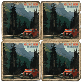 Glacier National Park Coaster Set. Handcrafted Marble Giftware by Studio Vertu.