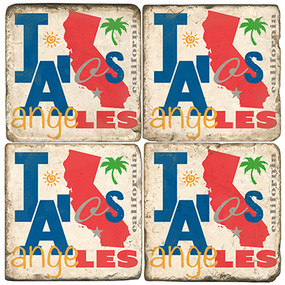 Colorful Los Angeles, California Coaster Set. Handcrafted Marble Giftware by Studio Vertu.