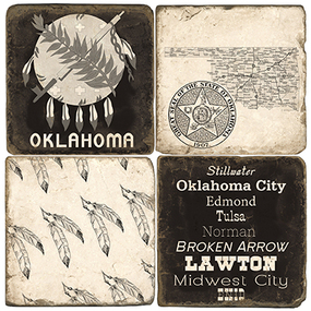 Black & White Oklahoma Coaster Set.  Handcrafted Marble Giftware by Studio Vertu.