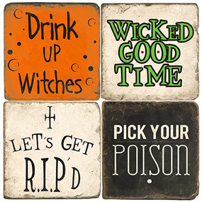 Halloween Party Coaster Set.  Tumbled Italian Marble Giftware by Studio Vertu.