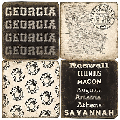 Black & White Georgia Coaster Set. Handcrafted Marble Giftware by Studio Vertu.