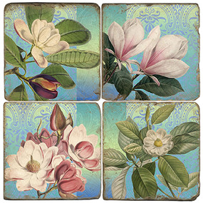 Magnolia Flowers on blue background