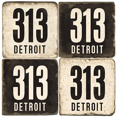 Detroit Area Code 313 Coaster Set.  Hand Made Marble Giftware by Studio Vertu.