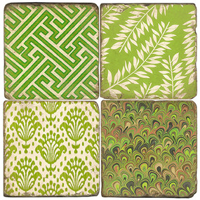 Green with Envy Coaster Set.  Handmade Marble Giftware by Studio Vertu.