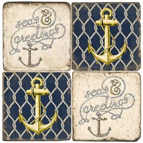 Nautical Christmas Coaster Set