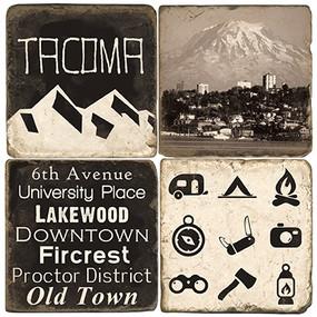 B&W Tacoma Coaster Set. Handmade Marble Giftware by Studio Vertu.