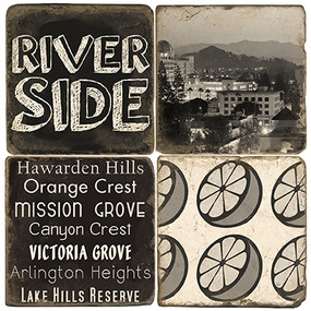 Black & White Riverside, CA Coaster Set