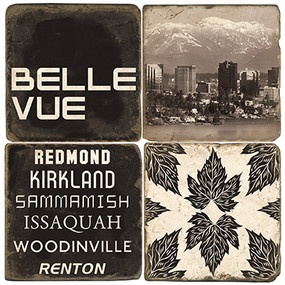 Black & White Bellevue, Washington Coaster Set