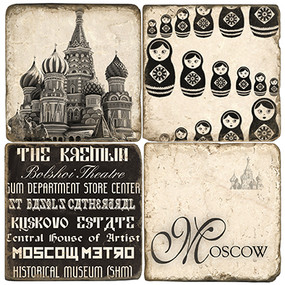 Black & White Moscow, Russia Coaster Set.
