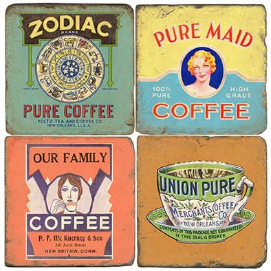 Vintage Coffee Label Coaster Set