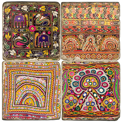 Colorful Mirror Cloth Pattern Coaster Set