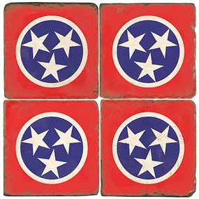 Tennessee Flag Coaster Set. Handmade Marble Giftware by Studio Vertu.