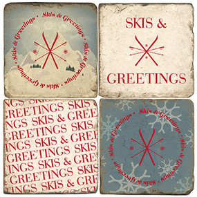 Skiing themed Coaster Set