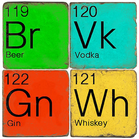 Beer, Vodka, Whiskey and Gin Coaster Set