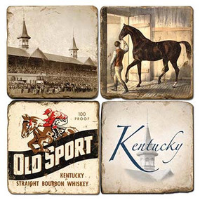 Kentucky Derby Coaster Set. Handmade Marble Giftware by Studio Vertu.