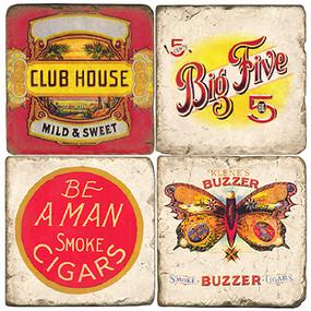 Vintage Cigar Label Coaster Set. Hand Made Marble Giftware by Studio Vertu.
