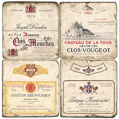 Vintage French Wine Label Coaster Set