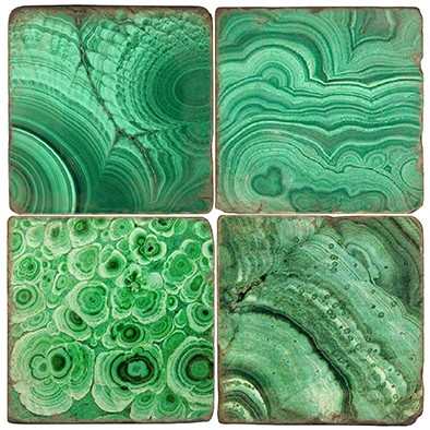 Malachite Coaster Set Printed on Italian Marble