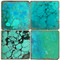 Turquoise Coaster Set Printed on Italian Marble