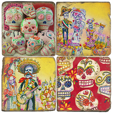 Day of the Dead Coaster Set. Handmade Marble Giftware by Studio Vertu.