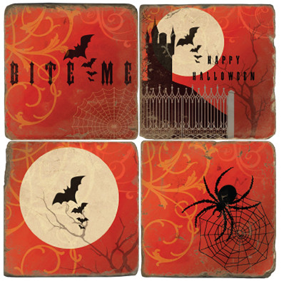 Halloween Themed Coaster Set. Handmade Marble Giftware by Studio Vertu.
