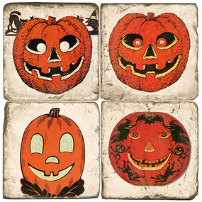 Halloween Pumpkin Coaster Set