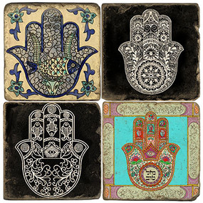 Hamsa Hand Coaster Set.  Tumbled Italian Marble Giftware by Studio Vertu.