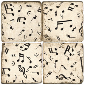 Black and White Music Note Coaster Set. Handmade Marble Giftware by Studio Vertu.
