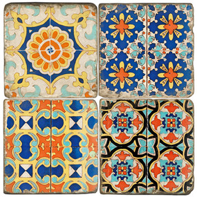 Colorful Floor Tile Coaster Set