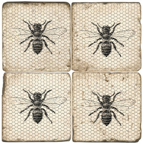 Black and White Bees Coaster Set