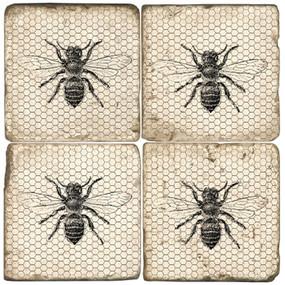 Black and White Bees Coaster Set