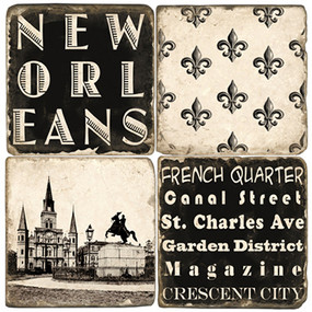 Black & White New Orleans Coaster Set. Handmade Marble Giftware by Studio Vertu.
