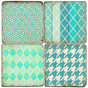 Patterns of Aqua Coaster Set