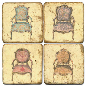 Vintage French Chair Coaster Set