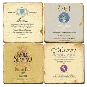 Italian Wine Label Coaster Set. Handmade Marble Giftware by Studio Vertu.