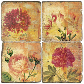 Mixed Red Flowers Coaster Set