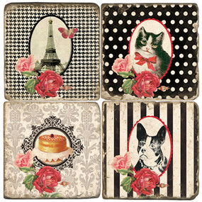 Parisian Themed Coaster Set. Handmade Marble Giftware by Studio Vertu.