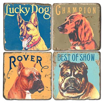 Lucky Dogs Coaster Set