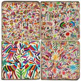 Colorful Otomi Pattern Coaster Set