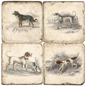 Classic Dog Coaster Set. Handcrafted Marble Giftware by Studio Vertu.