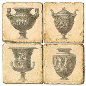 Decorative Urn Coaster Set. Handcrafted Marble Giftware by Studio Vertu.