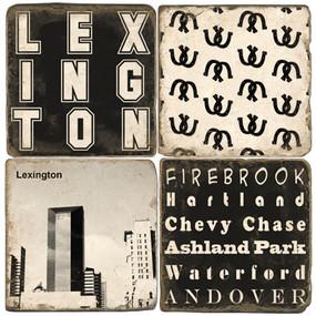 Lexington Kentucky Black and White Coaster Set