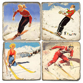 Vintage Ski Illustrations Coaster Set