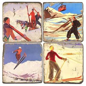 Vintage Ski Illustrations Coaster Set